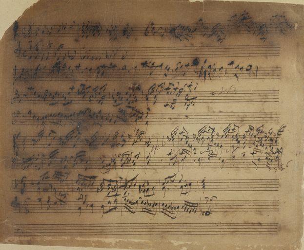 Blatt aus Sammelband mit utographen Fragmenten von Werken Händels